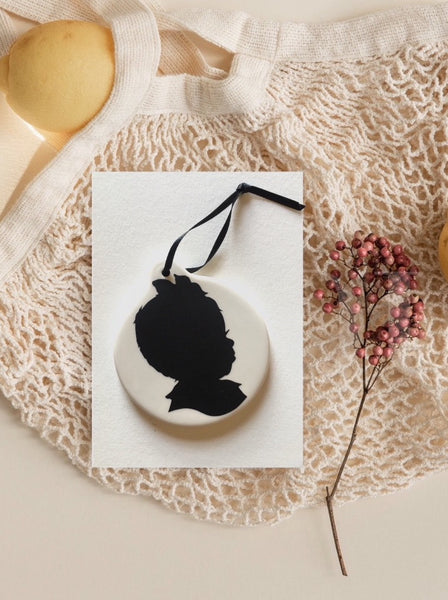Custom Silhouette for Children on Porcelain Ornament