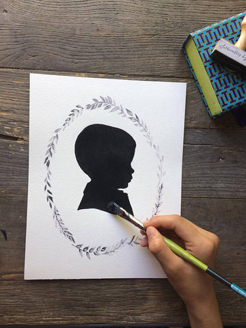 Custom Painted Silhouette Portrait w/ Wreath : Silhouette Painting Art - Silhouettes by Elle