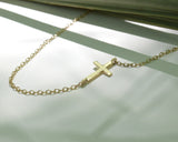 Gold Cross Necklace, Solid Gold, Solid Gold Necklace, Cross Necklace, Gold chain