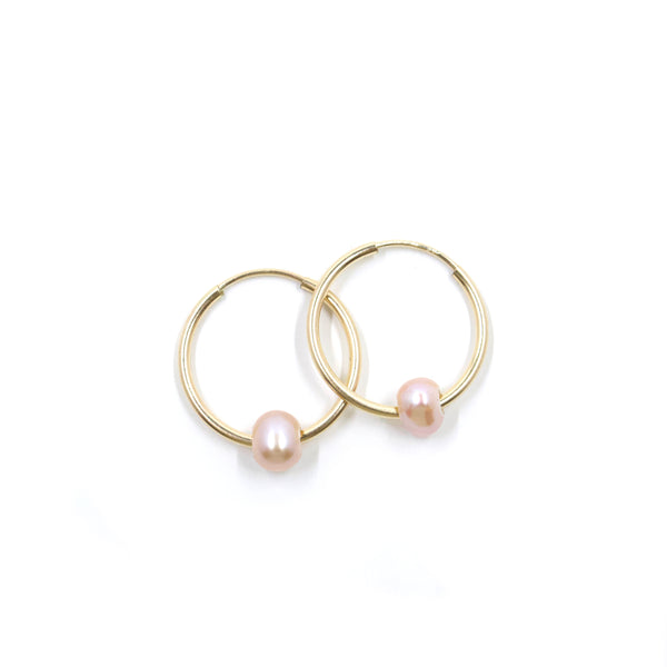 Baby Hoops with Pink Pearl