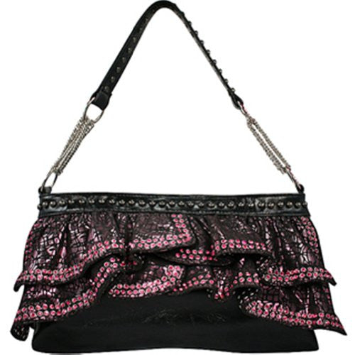 Ruffle and Pink Rhinestone Purse