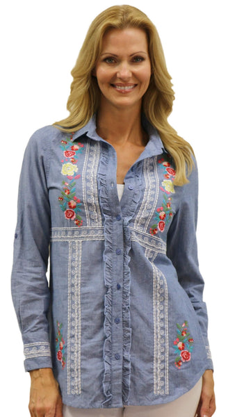 Embroidered Ruffle Shirt