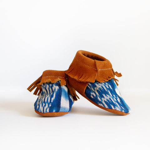 FRINGED BOOTIES, BLUE IKAT - blaze + wander™