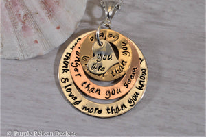 Gold and Sterling Silver Necklace - You are braver than you believe, stronger than you seem...Pooh Quote Necklace - Purple Pelican Designs