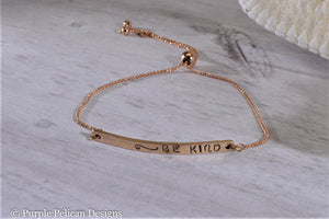 Be Kind Adjustable Two Tone 14k Gold Bracelet - Purple Pelican Designs