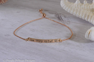 Be You Tiful Adjustable Two Tone 14k Gold Bracelet - Purple Pelican Designs