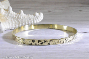 Solid Gold Bangle With Hand Stamped Floral Design - Purple Pelican Designs