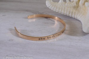 Solid Gold Cuff - She believed she could so she did - Purple Pelican Designs