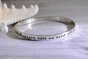 sister gift, sister jewelry hand stamped hand made bangle bracelet sterling silver solid gold quote jewelry purple pelican designs
