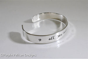 All you need is love sterling silver or gold cuff  Bracelet - Purple Pelican Designs