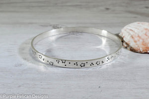 Sterling Silver Bangle - All You Need Is Faith Trust and a Little Bit of Pixie Dust - Purple Pelican Designs