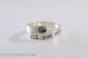 All You Need Is Love Sterling Silver Ring - Purple Pelican Designs