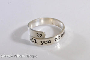 Beatles Song Lyrics All You Need Is Love Adjustable Sterling Silver Ring - Purple Pelican Designs