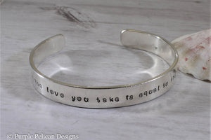 Beatles inspired bracelet - And in the end the love you take is equal to the love you make - Purple Pelican Designs