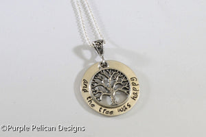 Shel Silverstein The Giving Tree Quote Necklace - And the tree was happy