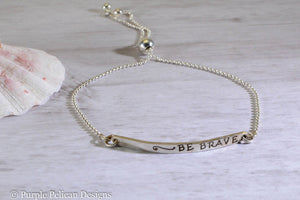 Be Brave Adjustable Sterling Silver Bracelet - Purple Pelican Designs
