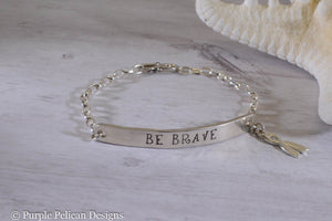 F Cancer - Be Brave -  Sterling Silver Chain Bracelet - Purple Pelican Designs