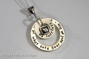 Graduation Necklace - Be Fearless In Pursuit Of What Sets Your Soul On Fire - Purple Pelican Designs