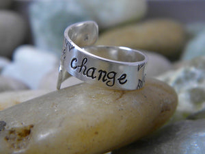 Be The Change - Mahatma Gandi Quote Ring - Purple Pelican Designs