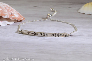 Be You Nique Adjustable Sterling Silver Bracelet - Purple Pelican Designs