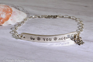 Be You Nique Sterling Silver Chain Bracelet - Purple Pelican Designs