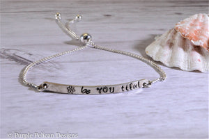 Be You Tiful Adjustable Sterling Silver Bracelet - Purple Pelican Designs