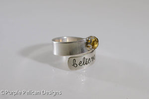 Sterling Silver Believe Ring With Gemstone - Purple Pelican Designs