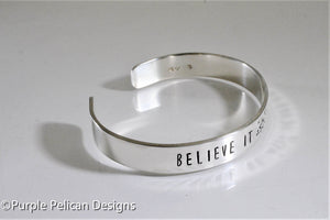 Believe It Achieve It  - Hand stamped bracelet - Purple Pelican Designs