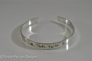 Bible Verse Cuff Bracelet - Customized - Purple Pelican Designs