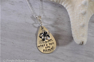 Bloom Where You Are Planted Sterling Silver Necklace - Purple Pelican Designs