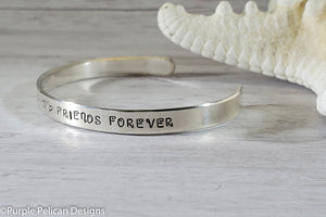 Twins Cuff Bracelet - Born Together Friends Forever - Purple Pelican Designs