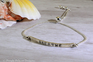 Breathe - Adjustable Sterling Silver Bracelet - Purple Pelican Designs