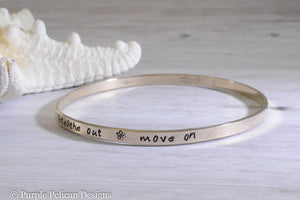 Solid Gold Bangle Bracelet Breathe In Breathe Out Move On - Purple Pelican Designs
