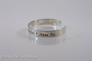 Breathe in, Breathe out, Move on Hand Stamped Cuff Bracelet - Purple Pelican Designs