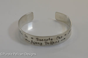 Jimmy Buffett Song Lyrics Bracelet - Breathe In Breathe Out Move On