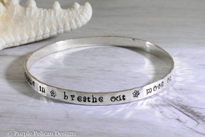 breathe in breathe out move on jimmy buffett lyrics bangle bracelet meditation jewelry yoga