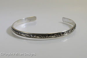 sterling silver cuff bracelet calla lily pattern wire hand made purple pelican designs jewelry
