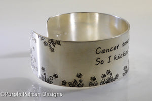Breast Cancer survivor bracelet - Cancer touched my booby... - Purple Pelican Designs