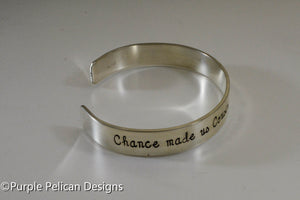 Chance made us cousins Hearts made us friends - hand stamped bracelet - Purple Pelican Designs