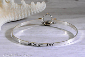 Choose Joy Hinged Bangle Sterling Silver - Purple Pelican Designs