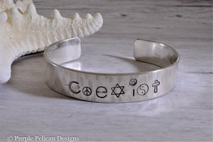 Coexist hand stamped bracelet - Purple Pelican Designs