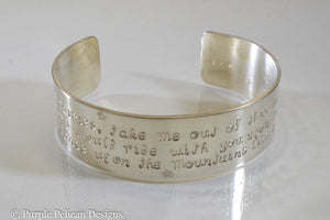 Come Fairies, Take Me Out Of This World....William Butler Yeats Quote Cuff - Purple Pelican Designs