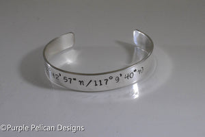 Location Bracelet - Longitude and Latitude Coordinates - Personalized