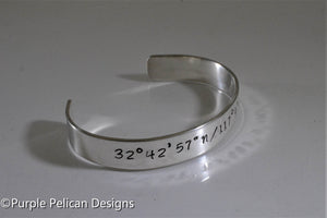 Location Bracelet - Longitude and Latitude Coordinates - Personalized - Purple Pelican Designs