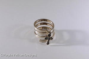 Sterling Silver Charm Ring - Faith, Hope, Love - Purple Pelican Designs