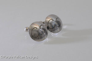 Sterling Silver Round Cuff Links with Initials - Purple Pelican Designs
