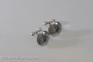 sterling silver personalized cuff links monogram initial hand made custom purple pelican designs