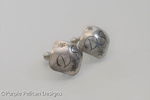Sterling Silver Cuff Links Personalized With Initial - Purple Pelican Designs