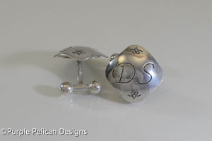 sterling silver cuff links monogram initial hand stamped jewelry purple pelican designs