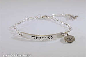 Diabetic Medical Alert Chain Bracelet - Purple Pelican Designs